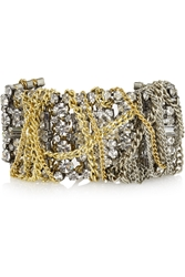Lulu Frost Oxidized Silver Tone And Gold Plated Crystal Bracelet
