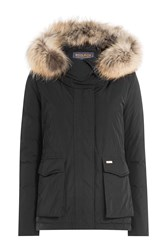 Woolrich Short Military Parka With Fur Trimmed Hood Black
