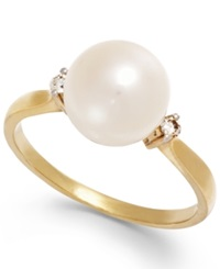 Macy's Cultured Freshwater Pearl 8 1 2 Mm And Diamond Accent Ring In 14K Gold White