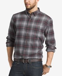 G.H. Bass And Co. Men's Plaid Flannel Long Sleeve Shirt Raven Heather