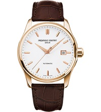 Frederique Constant Fc 303V5b4 Index Slim Rose Gold Plated And Leather Watch White