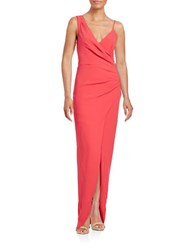 Nicole Miller Ruched Asymmetrical Gown Rose