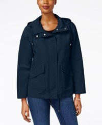 Charter Club Petite Hooded Utility Swing Jacket Only At Macy's Intrepid Blue