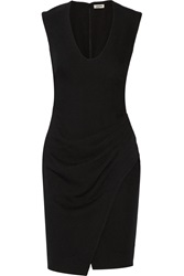 L'agence Gathered Crepe Dress Black