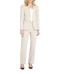 Tahari By Arthur S. Levine Flap Collar Open Jacket Pant Suit Stone