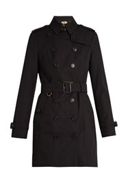 Burberry Sandringham Mid Length Gabardine Trench Coat Navy
