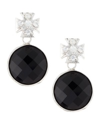 Elizabeth Showers Pave Maltese Cross Black Onyx Earrings
