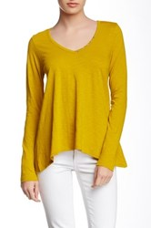 Lilla P Flame Long Sleeve Swing V Neck Tee Yellow