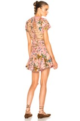 Zimmermann Tropicale Lattice Dress In Pink Floral Pink Floral