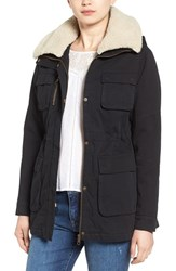 Steve Madden Women's Cotton Anorak With Removable Faux Shearling Trim Black