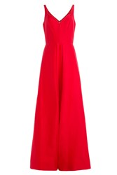 Halston Heritage Cotton Silk Evening Gown With Front Slit Red