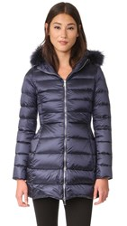 Add Down Coat With Fur Add Navy