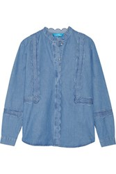 Mih Jeans M.I.H Ile Scalloped Cotton Chambray Shirt Blue