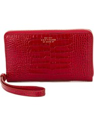 Smythson Crocodile Skin Effect Wallet Red