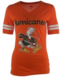 Soffe Women's Short Sleeve Miami Hurricanes V Neck T Shirt Orange