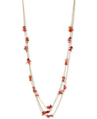 Kenneth Cole Coral Canyon Gold Tone Red Chip Bead Long Necklace