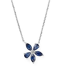 Bloomingdale's Sapphire And Diamond Flower Pendant Necklace In 14K White Gold 16