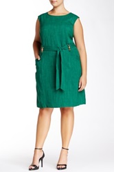 Belted Sleeveless Dress Plus Size Green