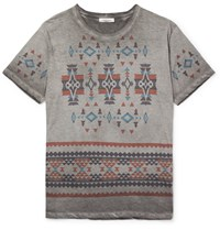 Valentino Lim Fit Printed Cotton Jerey T Hirt Gray