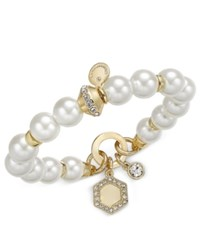 Charter Club Gold Tone White Imitation Pearl Crystal Enhanced Disc Charm Stretch Bracelet Only At Macy's Gold Tone