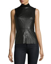 Bailey 44 Faux Leather Sleeveless Turtleneck Top Black