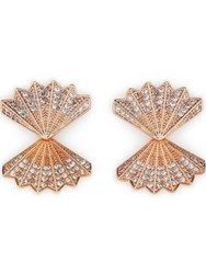 Cz By Kenneth Jay Lane Pierced Double Fan Pave Earrings Rose Gold
