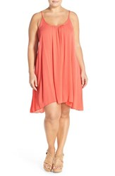 Elan Plus Size Women's Scooped Back Cover Up Slipdress Coral