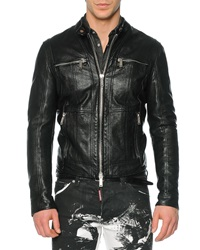 Dsquared2 Pebbled Leather Moto Style Jacket