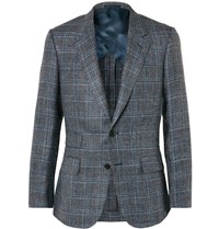 Kingsman Grey Harry Slim Fit Checked Silk Linen And Wool Blend Blazer Gray