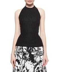 Carmen Marc Valvo Beaded Halter Crop Top Black