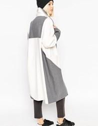 Asos White Colour Block Ovoid Coat In Heavy Wool Greycream