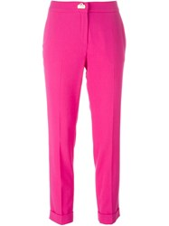 Salvatore Ferragamo Cropped Trousers Pink And Purple