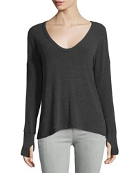 Lna Relaxed U Neck Ribbed Sweater Charcoal Grey