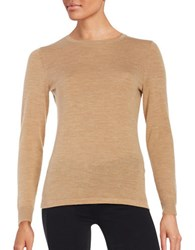 Lord And Taylor Crewneck Merino Wool Sweater Classic Camel Heather