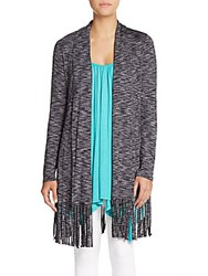 Saks Fifth Avenue Marled Fringed Cardigan Nickle Grey