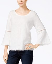 Styleandco. Style Co. Bell Sleeve Crochet Trim Knit Top Only At Macy's Winter White