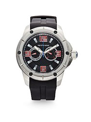 Saks Fifth Avenue Stainless Steel Silicone Strap Watch Silver Black