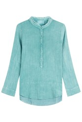 Zadig And Voltaire Crinkle Cotton Shirt Turquoise