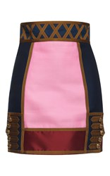 Dsquared2 Marching Band High Waist Mini Skirt Pink Blue Brown