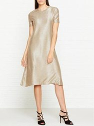 Paul Smith Ps By Metallic Short Sleeve Dress Gold