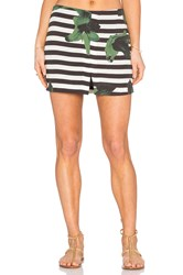 Osklen Flower Stripe Skirt Black