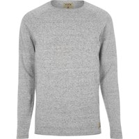 Jack And Jones River Island Mens Light Grey Knit Vintage Jumper