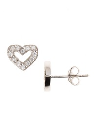 Lord And Taylor Sterling Silver And Cubic Zirconia Heart Shaped Stud Earrings