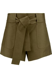 10 Crosby By Derek Lam Brushed Cotton Blend Shorts Green