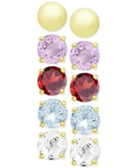 Victoria Townsend 5 Pc. Set Multi Gemstone And Metallic Stud Earrings In 18K Gold Plated Sterling Silver
