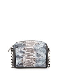 Deux Lux Snake Embossed Faux Leather Mini Messenger Bag Silver