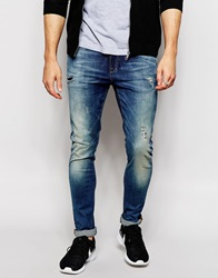 Asos Super Skinny Jeans With Abrasions Midblue