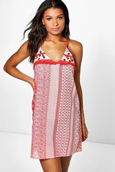 Boohoo Paisley Embellished Sun Dress Red