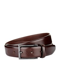 Boss Polished Leather Belt Unisex Brown
