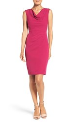 Adrianna Papell Petite Women's Drape Neck Sheath Dress Magenta